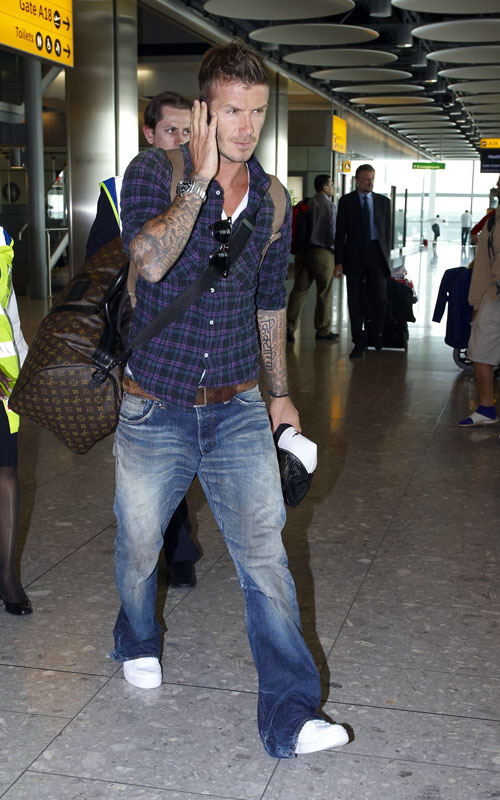 David Beckham Catching A Flight At Heathrow Airport (USA AND OZ ONLY)
